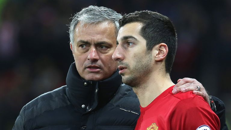 Jose Mourinho speaks to Henrikh Mkhitaryan as he prepares to come on for Manchester United