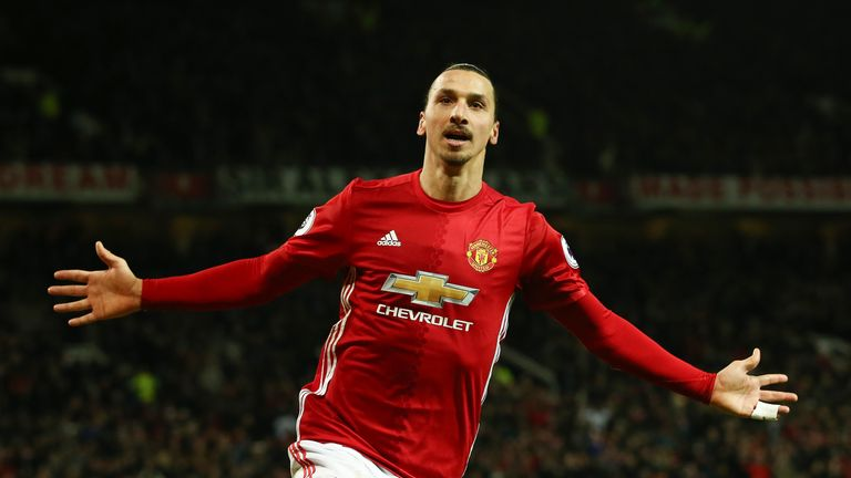 Zlatan Ibrahimovic celebrates after netting Manchester United's second goal of the game