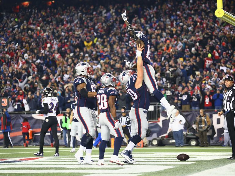 ... after scoring a touchdown in the Patriots' win against the Ravens