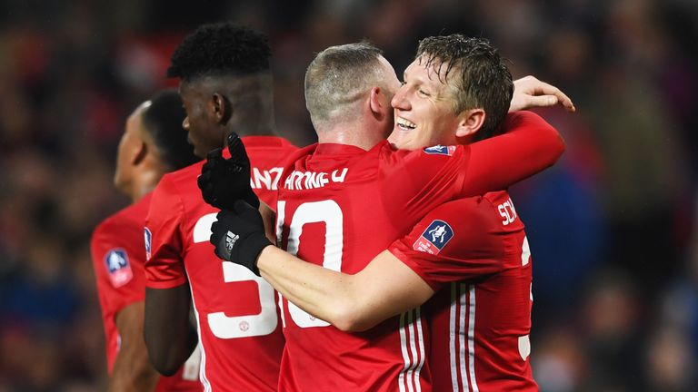 Bastian Schweinsteiger scored his first Old Trafford goal for Manchester United