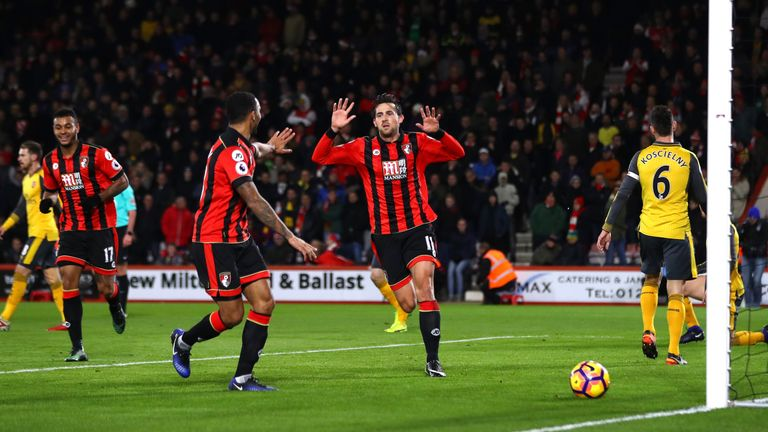Daniels celebrates Bournemouth's opener against Arsenal
