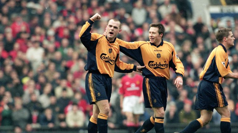 Danny Murphy celebrates the first of three winners at Old Trafford in 2000