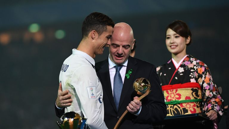 FIFA President Gianni Infantino Presents Cristiano Ronaldo With An Award