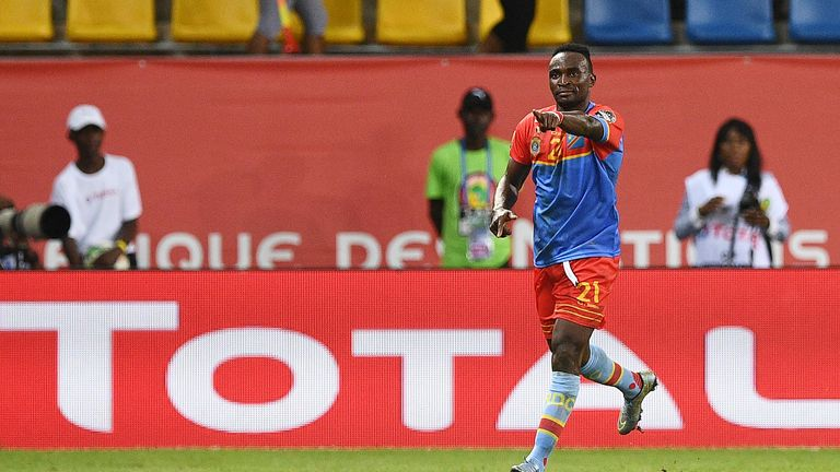 DR Congo forward Ndombe Mubele celebrates his goal