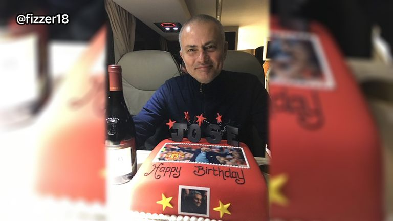 Phil Neville posted this picture of Jose Mourinho with a birthday cake on Thursday. PIC: @fizzer18