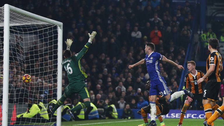 Gary Cahill headed home Chelsea's second on Super Sunday