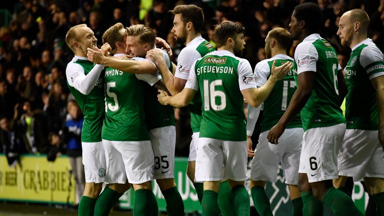 Hibs celebrate after Jason Cummings scored the opener