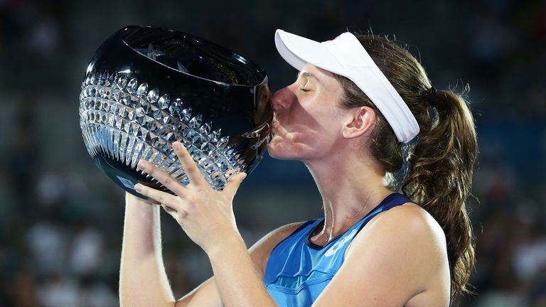 Konta made it third time lucky against Agnieszka Radwanska to win in Sydney, but lost in the first round to her on Tuesday