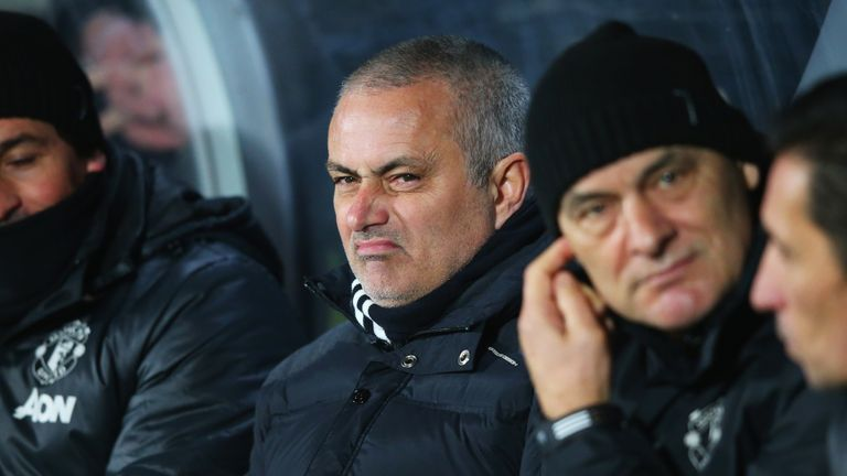 Jose Mourinho does not look impressed with his side's performance