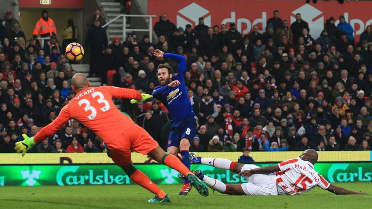 Mata missed a clear chance for United in the first half