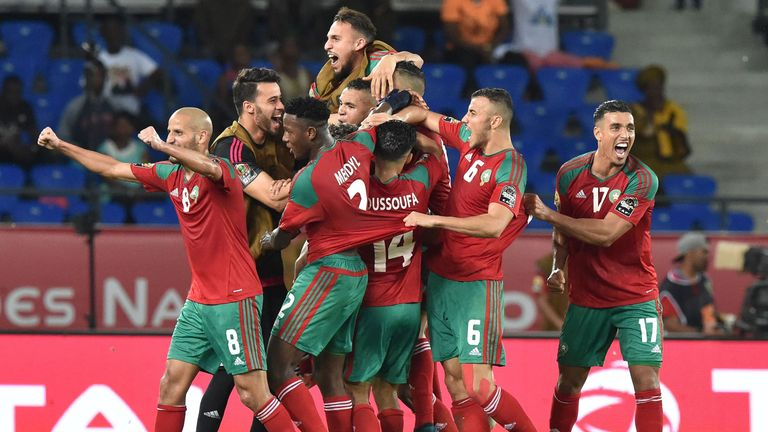 Morocco's players celebrate victory