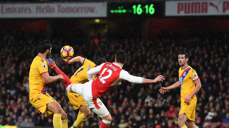 Giroud scored 16 goals last season for Arsenal, including a memorable scorpion kick against Crystal Palace