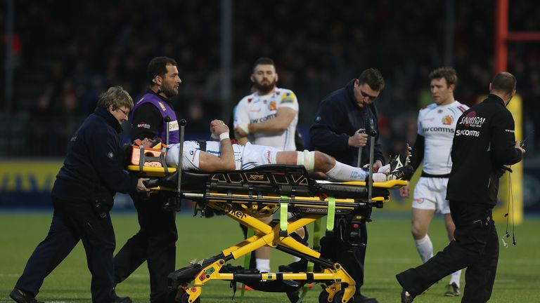 Parling was stretchered from the pitch after falling unconscious