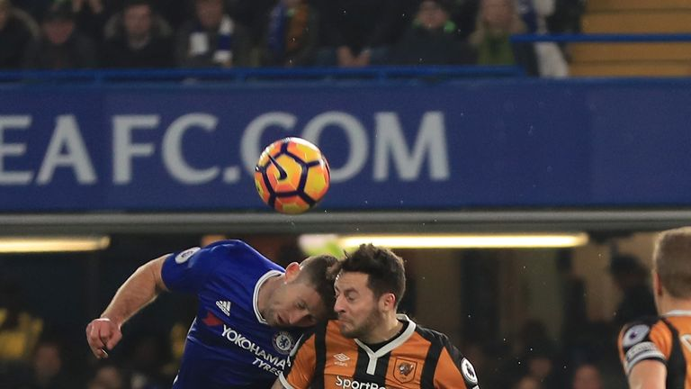 Mason (right) suffered a serious head injury in a collision with Chelsea's Gary Cahill