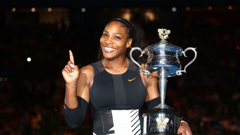 Williams celebrates last year's Australian Open success