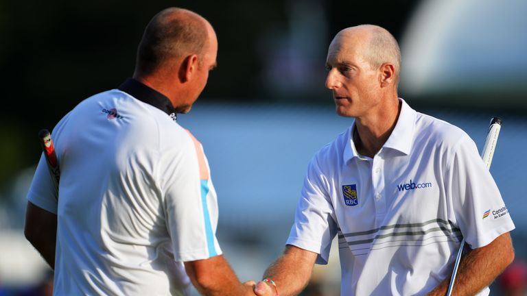 Thomas Bjorn (L) will lead Europe against Furyk in 2018