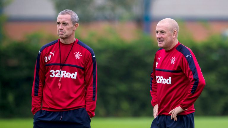 Rangers manager Mark Warburton (R) and assistant David Weir are happy with their January business