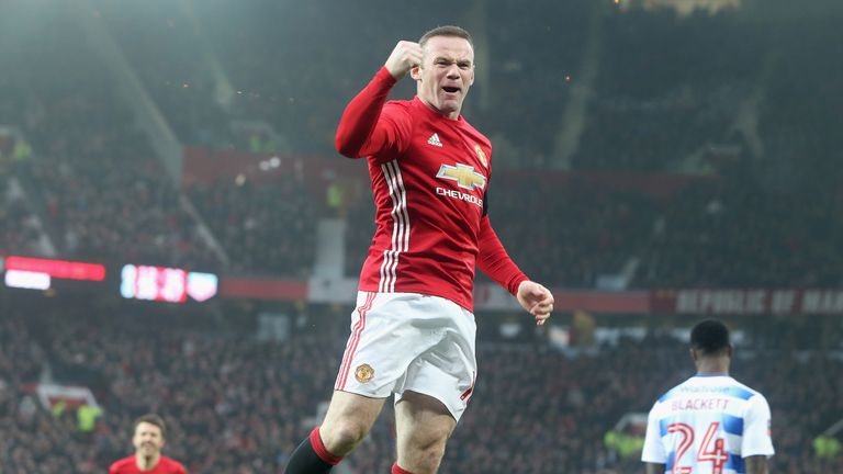 Wayne Rooney celebrates the FA Cup goal against Reading that equalled Sir Bobby Charlton's club record