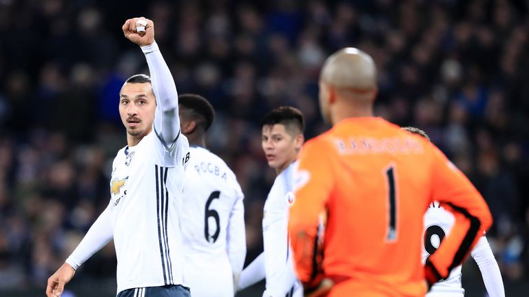 Zlatan Ibrahimovic celebrates scoring Manchester United's second goal