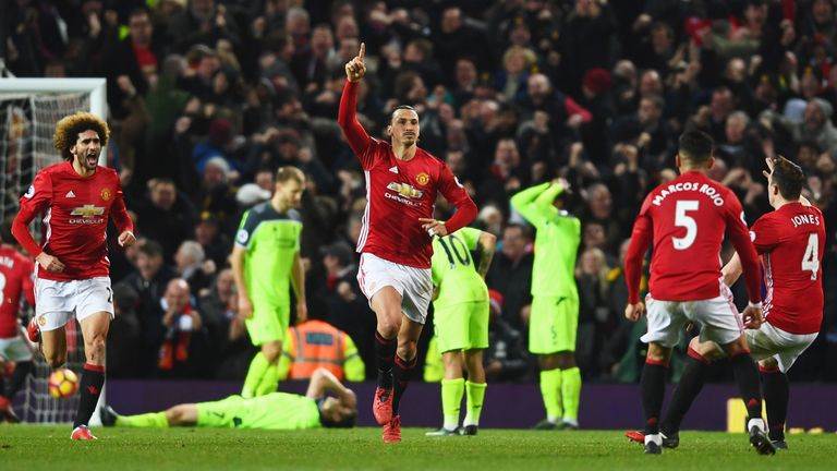 Zlatan Ibrahimovic scored a late equaliser for Manchester United to draw against Liverpool in January