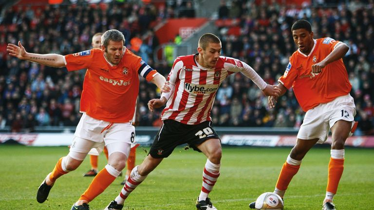 Lallana in action for Southampton against Luton Town in January 2010