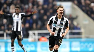 Newcastle United's Matt Ritchie celebrates scoring his side's fourth goal of the game during the Sky Bet Championship match at St James' Park, Newcastle.