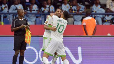 Riyad Mahrez scored twice in Algeria's draw with Zimbabwe