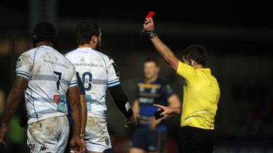 Montpellier's Frans Steyn (10) is red-carded by referee JP Doyle for a dangerous tackle on Leinster's Johnny Sexton