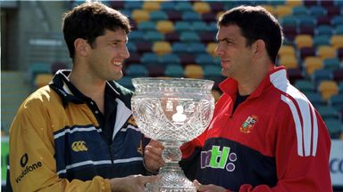 Captains John Eales and Martin Johnson ahead of the Lions' first Test against Australia in 2001
