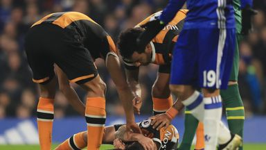 Hull midfielder Ryan Mason is in a stable condition after fracturing his skull at Chelsea