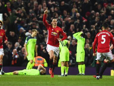 Zlatan Ibrahimovic struck his 14th Premier League goal of the season against Liverpool on Sunday