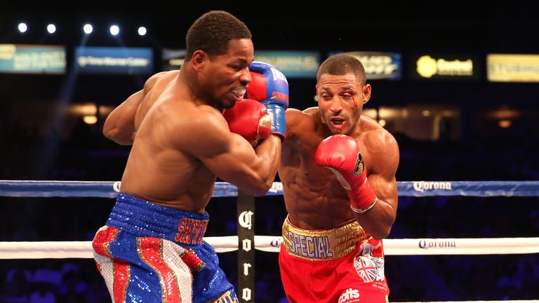 LOS ANGELES, CA - AUGUST 16:  Kell Brook throws a punch at Shawn Porter in their IBF Welterweight World Championship fight at StubHub Center on August 16,