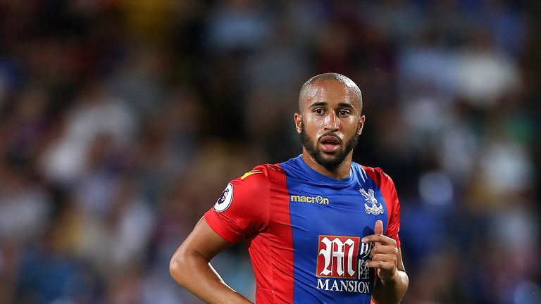 Andros Townsend in action during the EFL Cup Second Round match against Blackpool