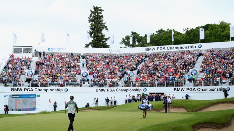 VIRGINIA WATER, ENGLAND - MAY 29:  Chris Wood of England walks on to the 18th green during day four of the BMW PGA Championship at Wentworth on May 29, 201