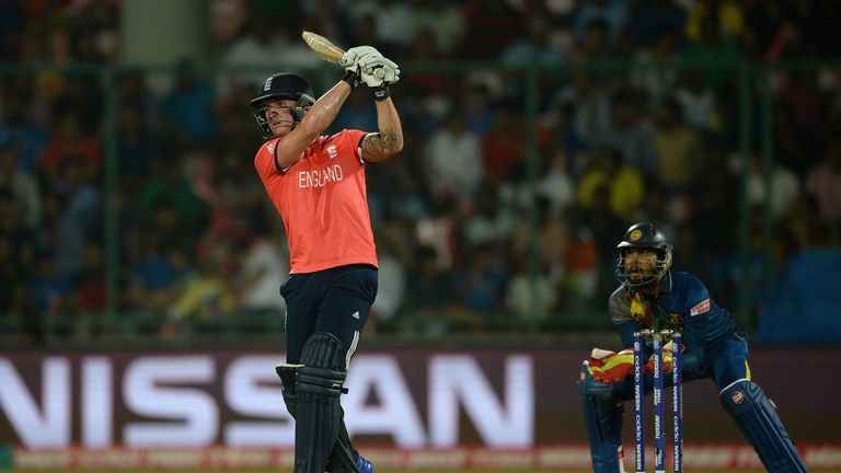 Jason Roy of England hits out for six runs during the ICC World Twenty20 India 2016 Group 1 match between England and Sri Lanka