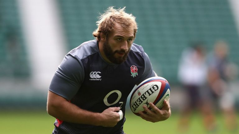 Joe Marler runs with the ball during the England captain's run at Twickenham Stadium on November 18, 2016 in London, England
