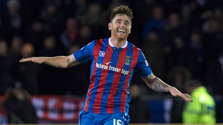 Greg Tansey celebrates scoring for Inverness