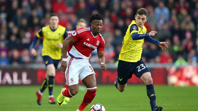 Middlesbrough winger Adama Traore attempts to take the ball away from Ryan Ledson