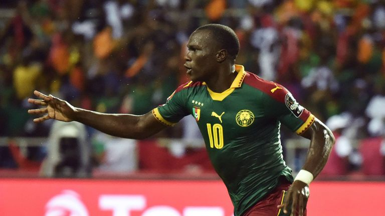 Cameroon forward Vincent Aboubakar celebrates after scoring the team's second goal