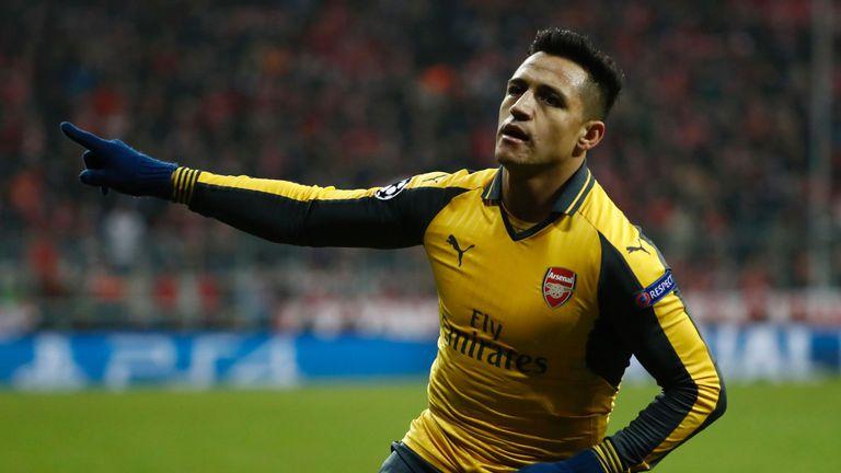 Sanchez celebrates after equalising for Arsenal
