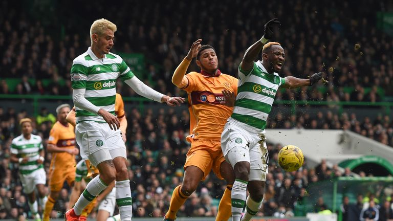 Celtic's Moussa Dembele (right) continued his fine scoring record