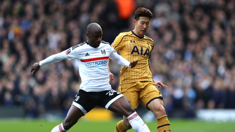 Heung-Min Son holds off Sone Aluko in the first half at Craven Cottage
