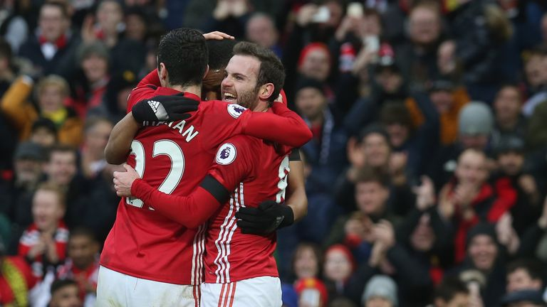 Juan Mata celebrates opening the scoring for United in the first half