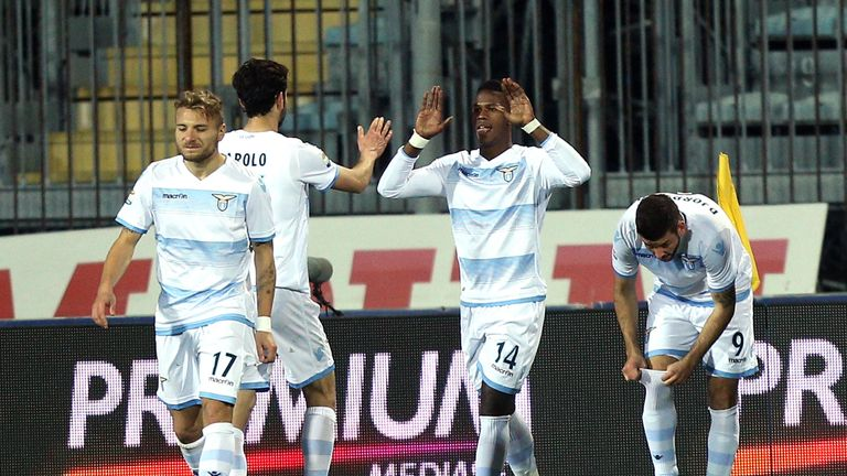 Keita Balde celebrates after scoring at Empoli