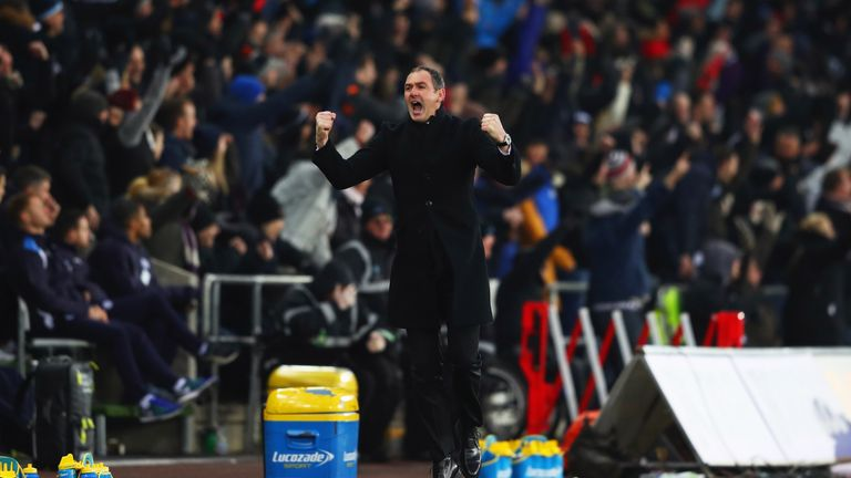 Paul Clement celebrates the victory at the end of the match
