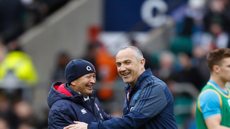 Eddie Jones shakes hands with Conor O'Shea before kick-off