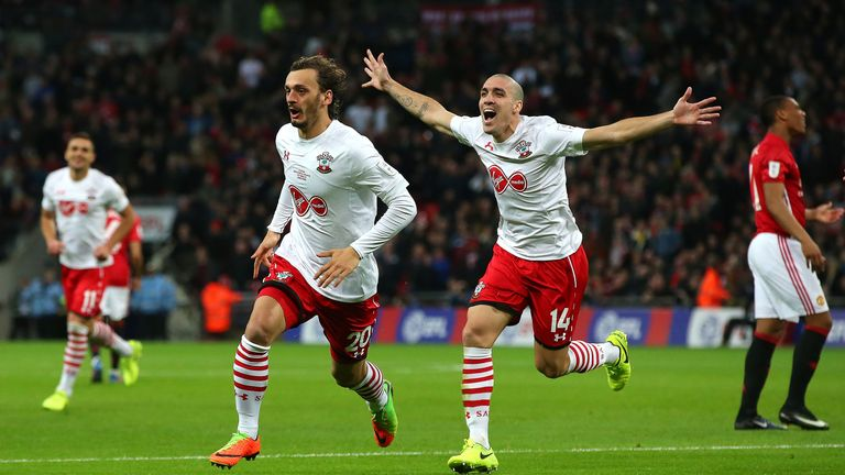 Manolo Gabbiadini's double couldn't prevent Manchester Utd winning the EFL Cup final 3-2