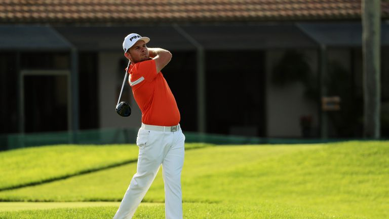 Rickie Fowler's putt was swallowed by a sprinkler head