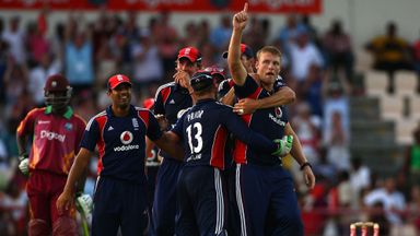 Andrew Flintoff is mobbed by England team-mates after his 2009 hat-trick