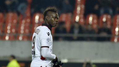 Nice's Mario Balotelli leaves the field after receiving a red card against Lorient